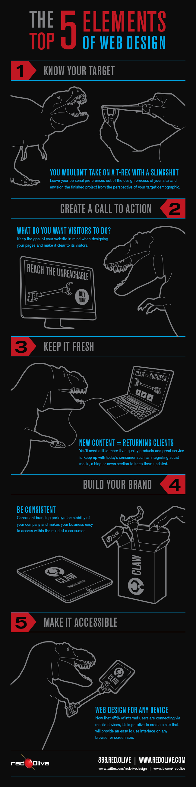 Top 5 Elements of Web Design Infographic